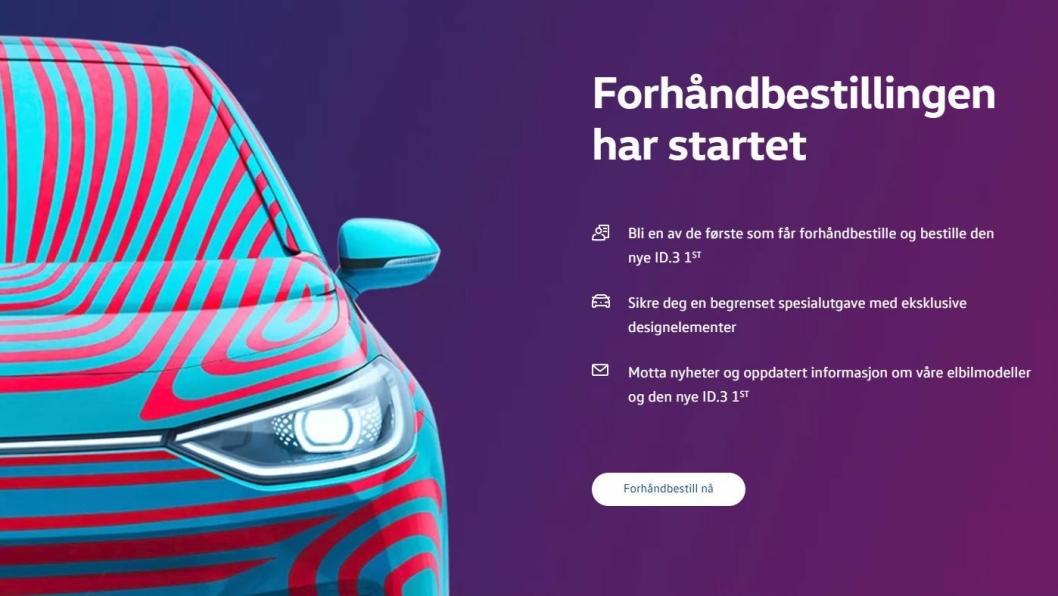Faksimile fra VWs norske nettsider.