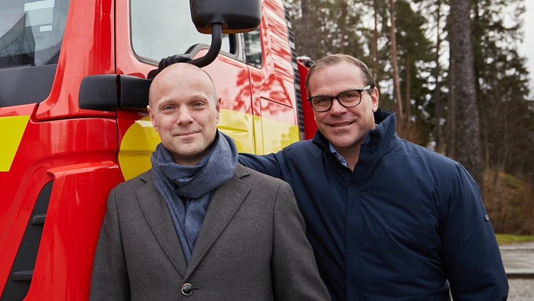 Morten Thorsrud (konsernsjef, If) og Hans Petter Semmelmann (konsernsjef, Viking Redningstjeneste).