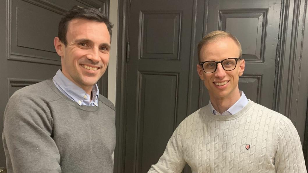 Vidar Jaeck i BUS AS (til venstre) og Lars Eriksson i Carcare Systems Europe AB.