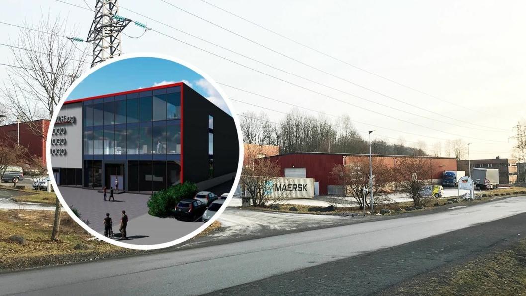 Rudssletta 24, slik eiendommen fremstår i dag. Innfelt en illustrasjon av et BNH-anlegg.