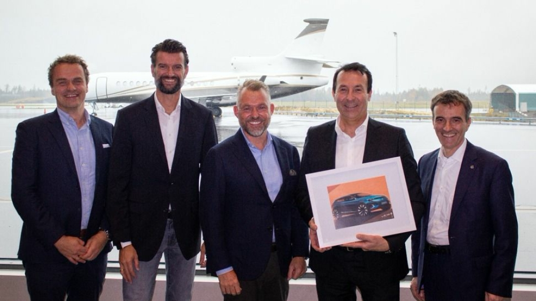 F. v.: Stig Sæveland (adm. dir. Hedin Automotive), Gerald Krainer (Director Go-to-Market Europe Byton), Dr. Andreas Schaaf (Chief Customer Officer, Byton), Anders Hedin (Eier & CEO Hedin Group) og Marcus Essenpreis (Head of Aftersales Byton)