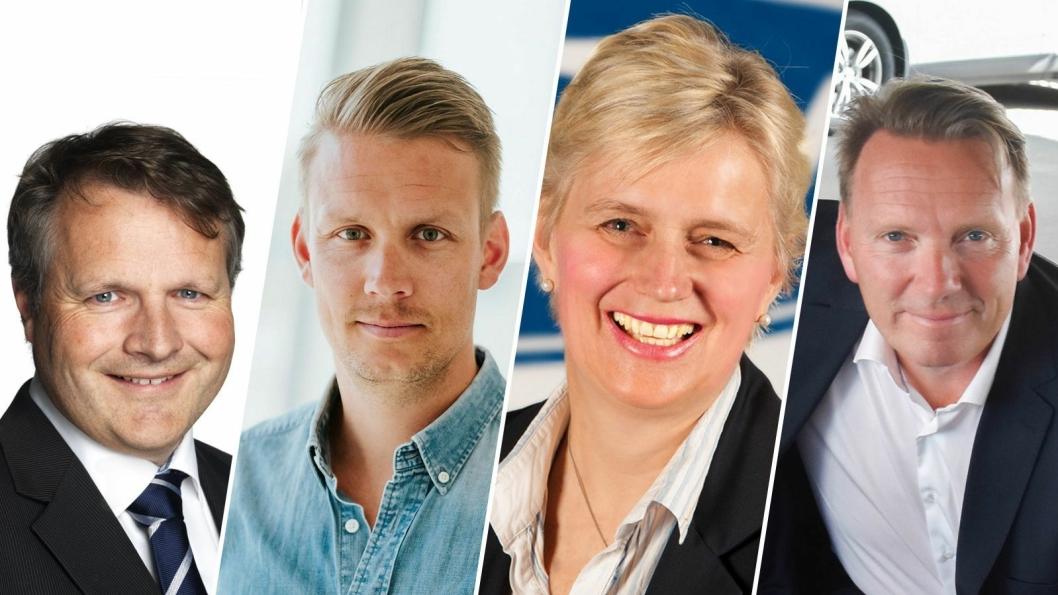 Fv: Anders Rikter (konserndirektør kommunikasjon i Bertel O. Steen), Erik Trosby (kommunikasjonssjef i Volvo Car Norway), Anne Sønsteby (informasjonsdirektør i Ford Motor Norge) og Thomas Rosvold (adm. direktør i Hyundai Motor Norway).