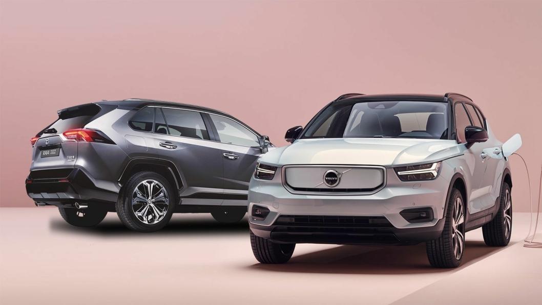 Toyota RAV4 Plug-in Hybrid og Volvo XC40 Recharge Pure Electric får begge prisøkning.