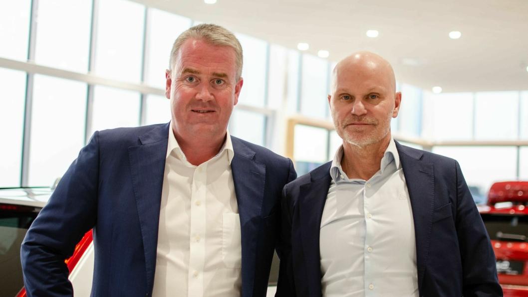 Den norske Bilia-sjefen Frode Hebnes (t.v.) og Bilias konsernsjef Per Avander.