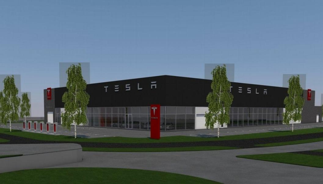Slik ser Tesla for seg det nesten 3.500 kvadratmeter store anlegget i Porsgrunn.