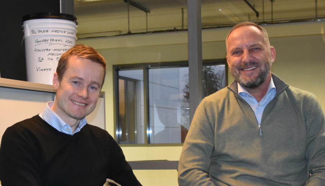 F. v.: Espen Berg (daglig leder Erik Arnesen Helsfyr) og Lars Erik Presterud (konsernsjef Erik Arnesen).