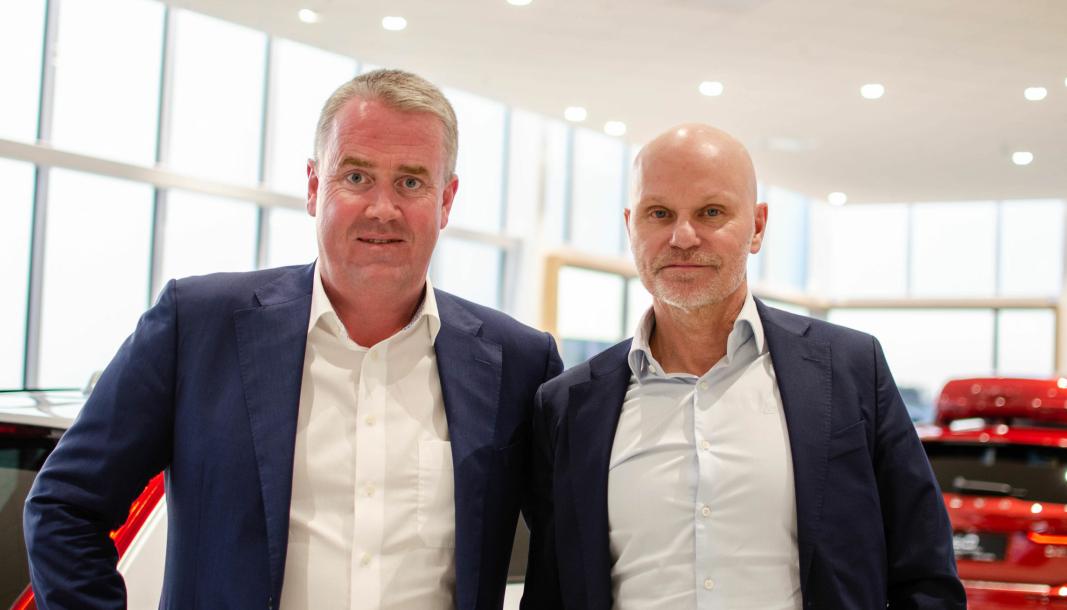 <em>F. v.: Adm. direktør i Bilia Personbil AS, Frode Hebnes, og Bilias konsernsjef Per Avander.</em>