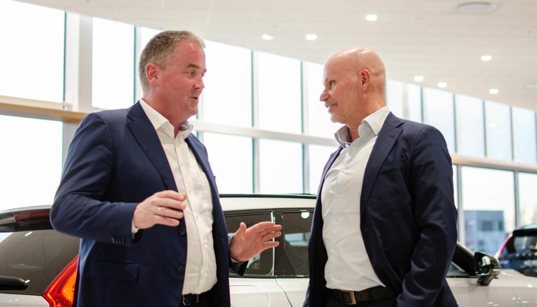F. v.: Frode Hebnes, sjef for Bilia i Norge, og Per Avander, konsernsjef for Bilia.