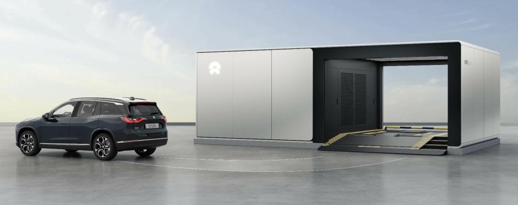 <em>Slik ser Nio for seg at en batteribytte-stasjon kan se ut. Med et lager på 13 batterier lover Nio at de har kapasitet til 312 batteribytter i døgnet. Det tilsvarer en rotasjonstid per batteri på en time.</em>