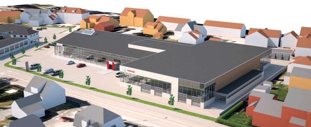 Dette er det foreløpige utkastet til nytt Toyota-anlegg for Toyota Bilia i Porsgrunn.