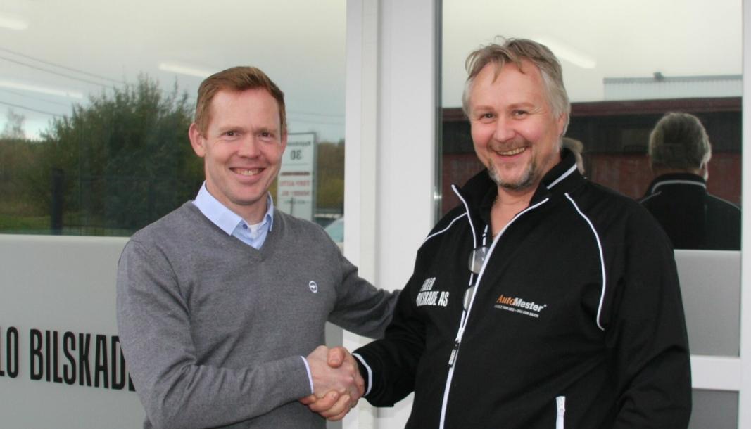 Georg Risheim, landsjef for Werksta i Norge, og Rune Nilsen, eier og daglig leder i Follo Bilskade AS.